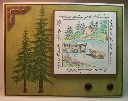 Lake window and words around it.  Sells for 9.87. Sold separately are the trees in my ebay store. Made by Art Impressions  Rubber Stamps Rubber Stamps.You can purchase these from my ebay store: Pat's Rubber Stamps & Scrapbooks, Click on the picture here to see the listing , or call me 423-357-4334 with order, . We take PayPal. You get FREE SHIPPING ON PHONE ORDERS of $30.00 or more. Use my search engine to find all items you are interested in. If this shows sold I have more
