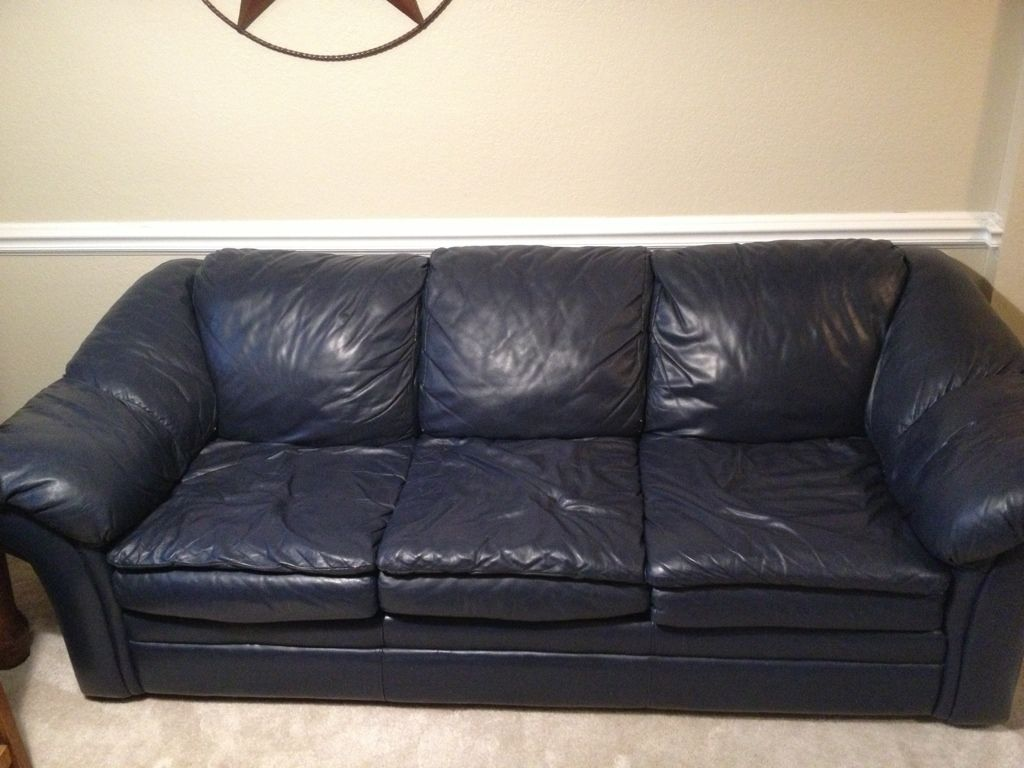 Navy Blue Leather Sofa U0026 Chair W/ Ottoman | Non Fishing CLASSIFIEDS | Texas  Fishing Forum