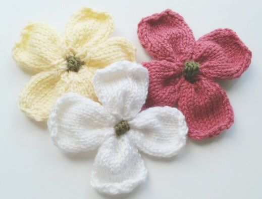 These Lovely Knitted Dogwood Flowers Are Perfect As A Scrap Yarn