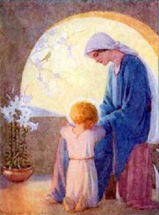 The End of the Day by Margaret Tarrant - Mother Mary and Child Jesus