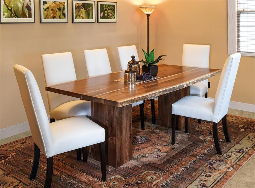 Amish Shreveport Trestle Table With Live Edge Live Edge Dining