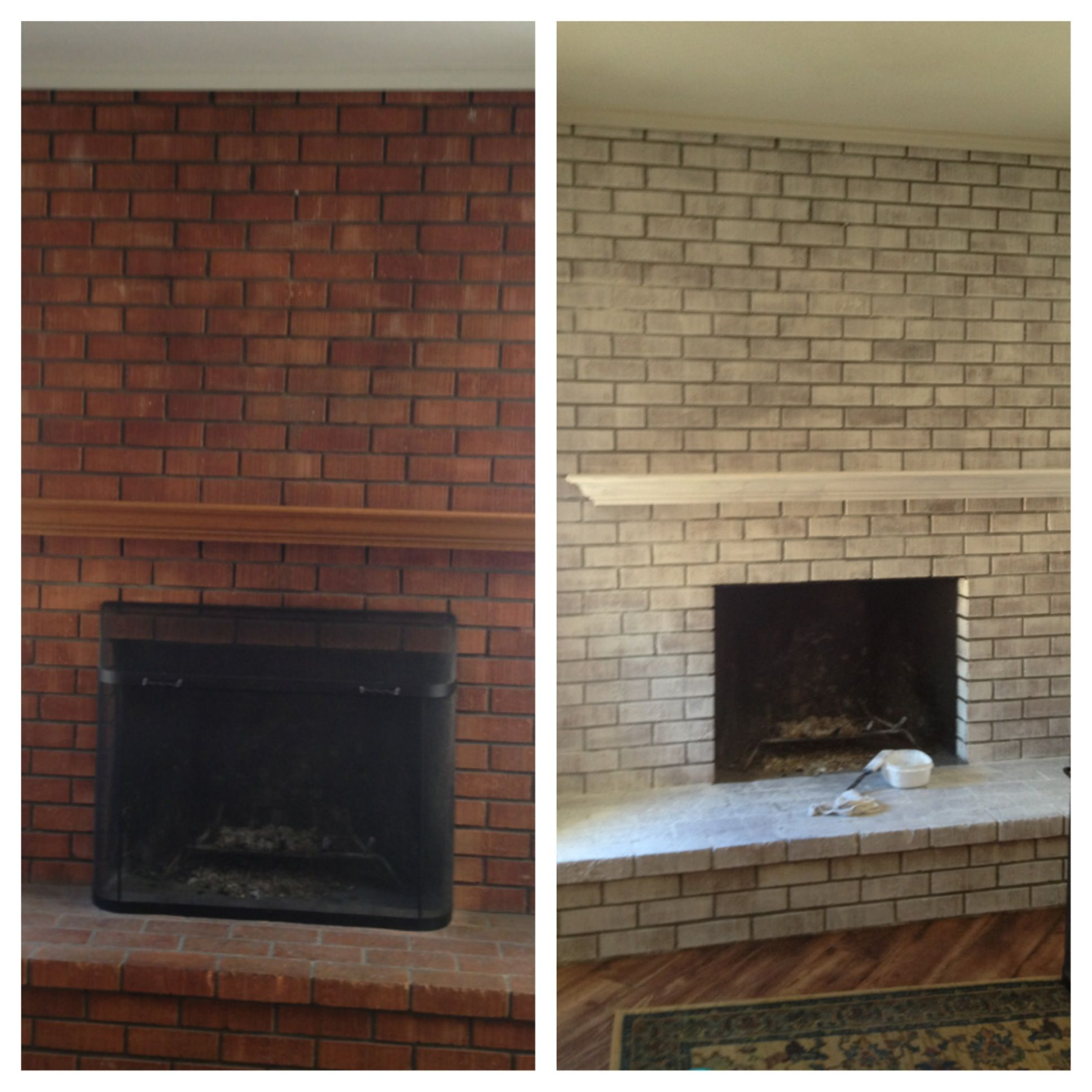 before and after white washed brick ideas pinterest brick fireplace white wash brick and. Black Bedroom Furniture Sets. Home Design Ideas