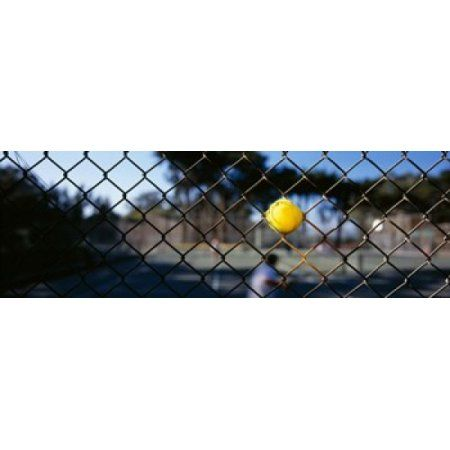 Close-up of a tennis ball stuck in a fence San Francisco California USA Canvas Art - Panoramic Images (18 x 6)