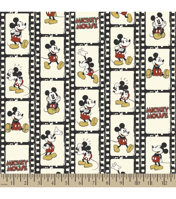 Scrapbook paper disney - Disney Mickey Filmstrip Linear Flannel Fabric