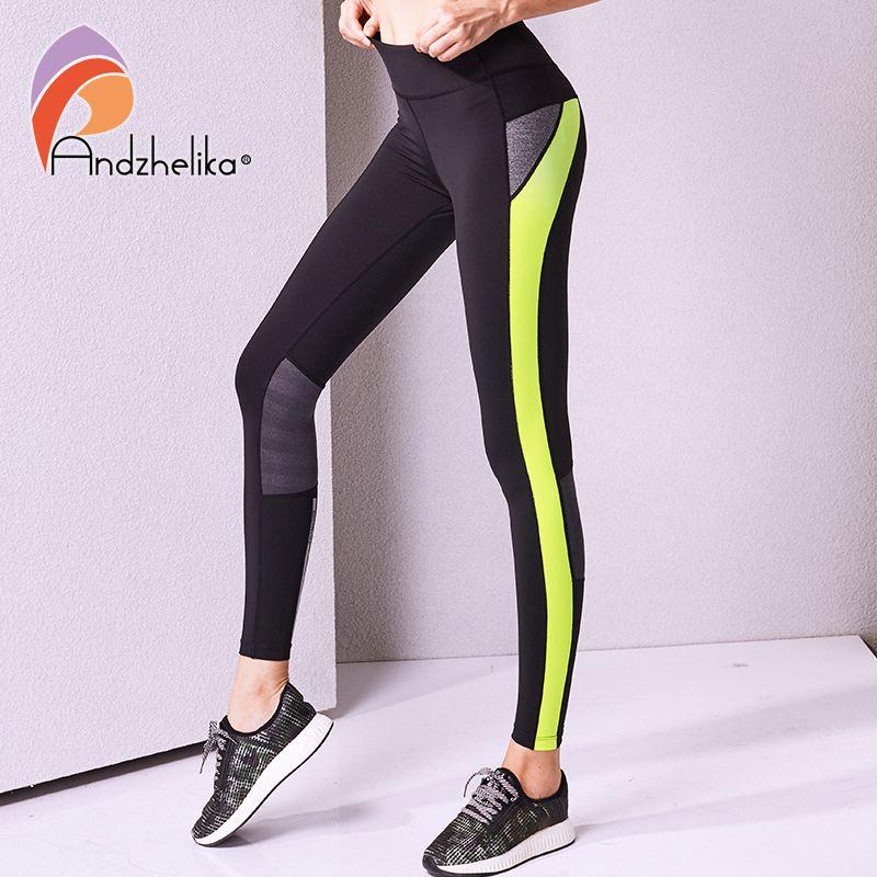 07e8280ba (Promotion price  15.07) Andzhelika Women Yoga Pants High Quality Slim  Running Fitness Leggings Elastic