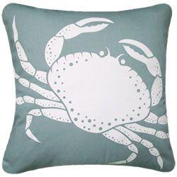 Oceanside Aqua Crab Pillow By the Sea