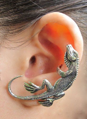 bcf7f34ee Amazon.com: Sterling Silver Lizard Iguana ear cuff Wrap Left ear: Marty  Magic: Jewelry