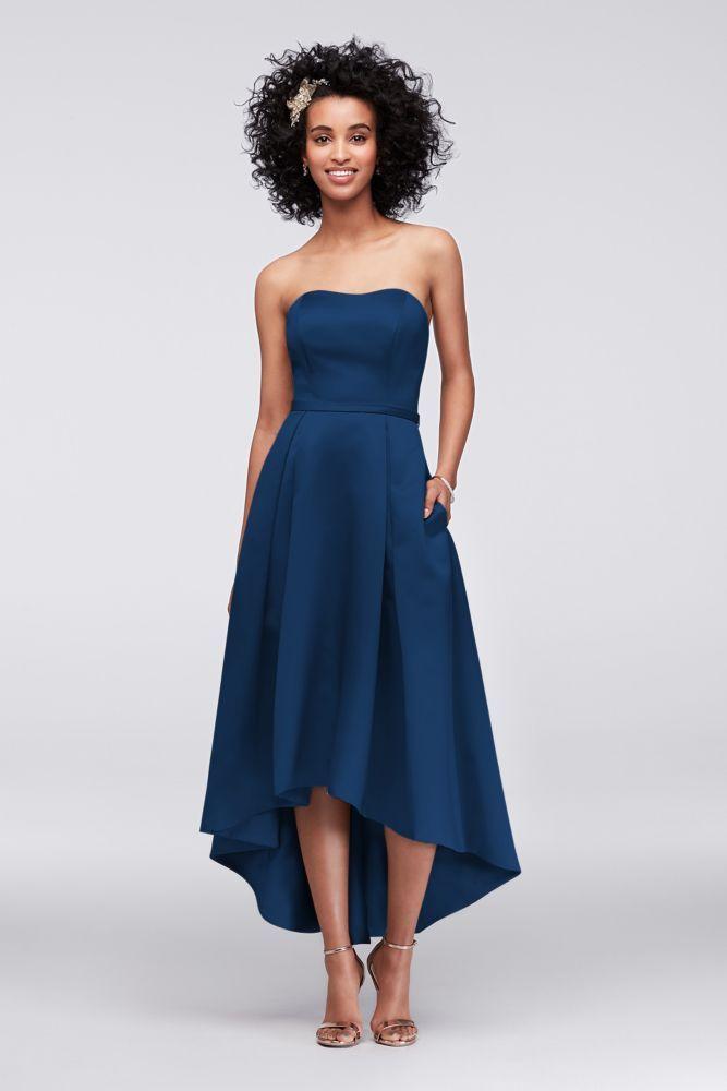 High Low Satin Bridesmaid Dress With Pockets Marine Blue 22