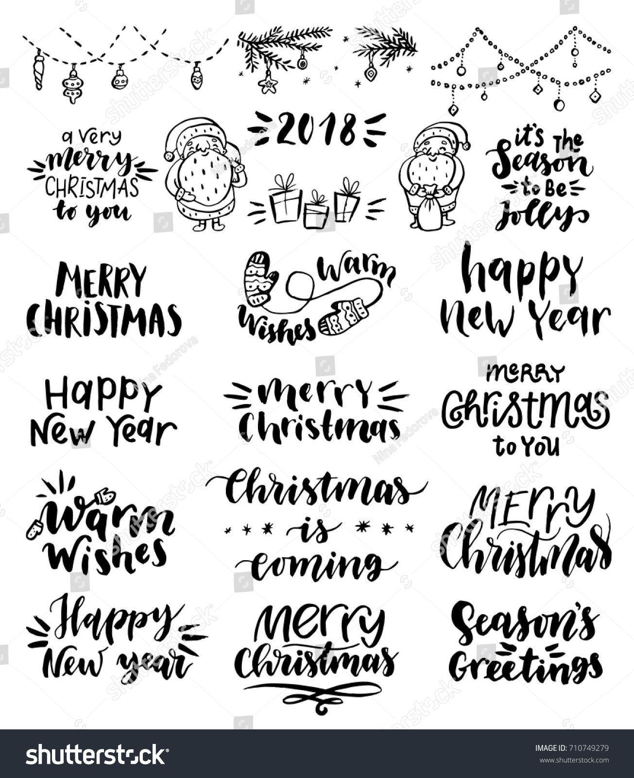 Collection Of Merry Christmas And Happy New Year Hand Lettering In Different StylesVector Illustration