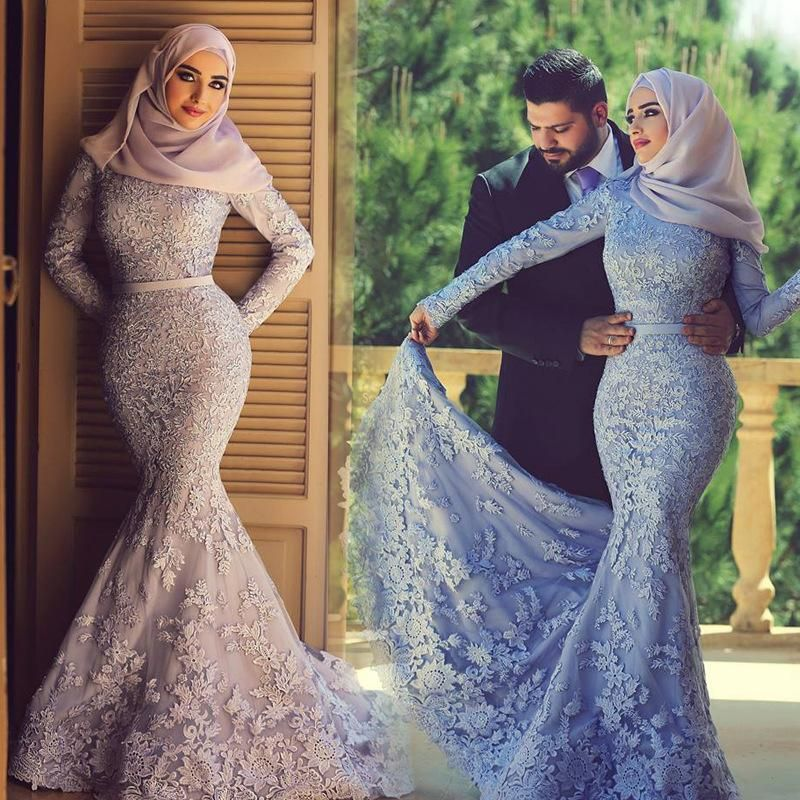 Muslim wedding dresses 2016 appliques beaded mermaid hijab bridal ...