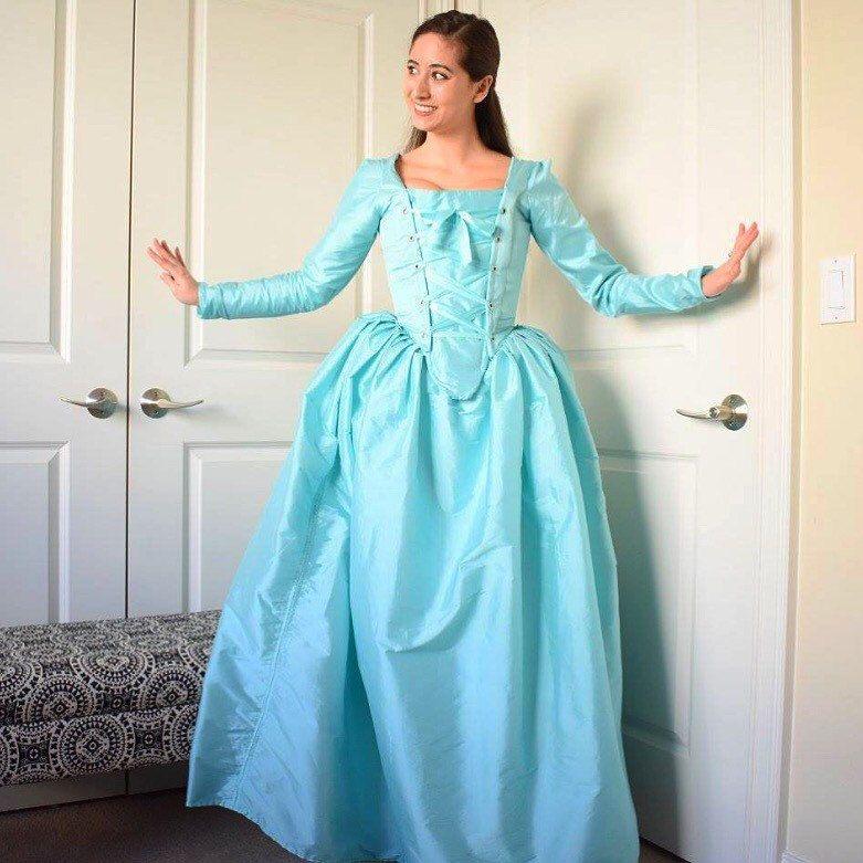 Musical hamilton Eliza Schuyler Cosplay costume dress colonial dress costume