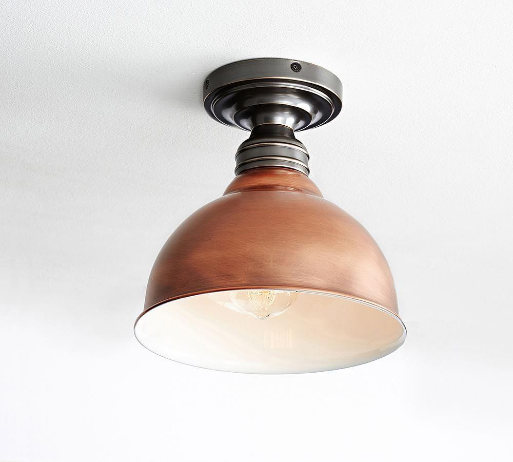 Metal Bell Flush Mount Copper Lighting Craftsman Lighting Flush Mount Lighting