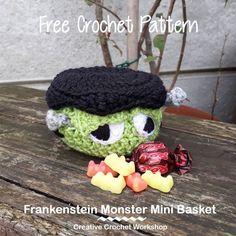 Frankenstein Monster Mini Basket   2017 Holiday Blog Hop   Creative Crochet Workshop @creativecrochetworkshop #freecrochetworkshop #2017holidaybloghop