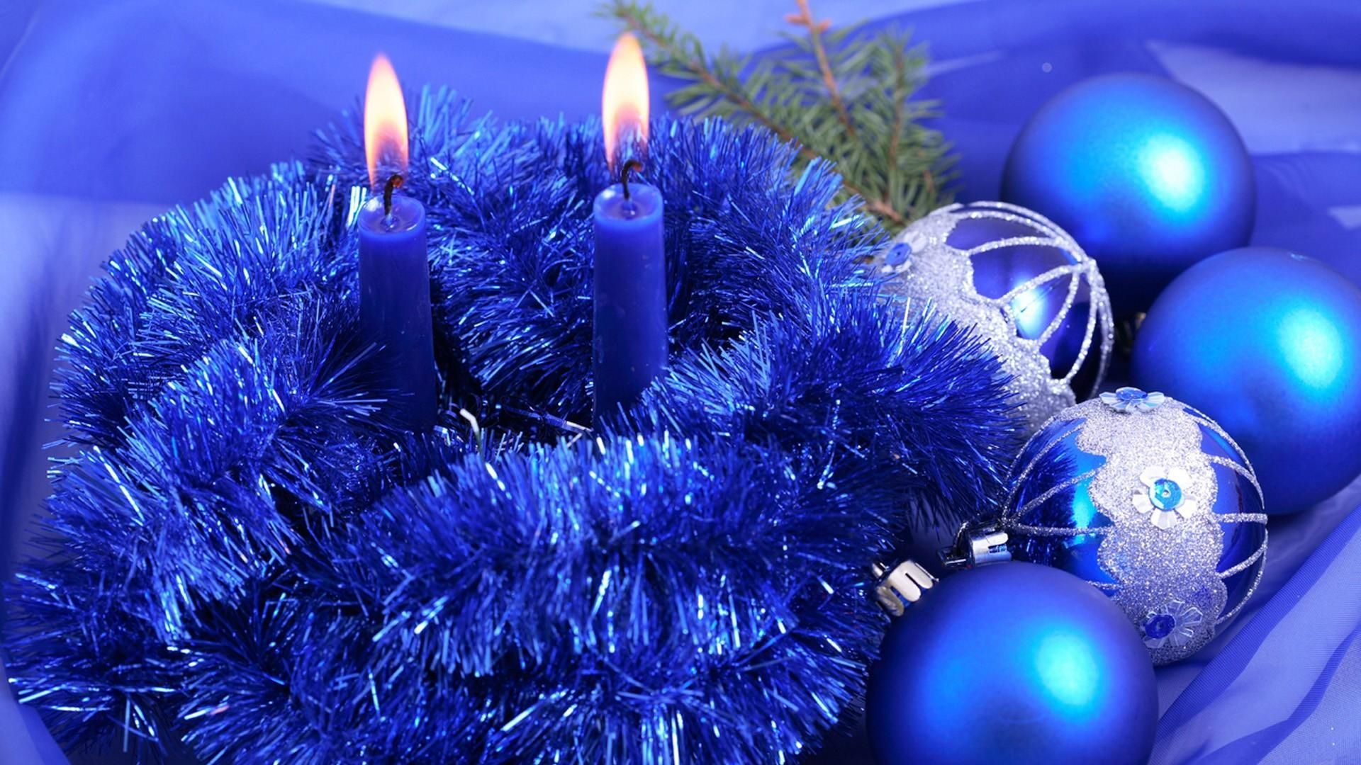 1920x1080 Wallpaper christmas decorations, candles, tinsel