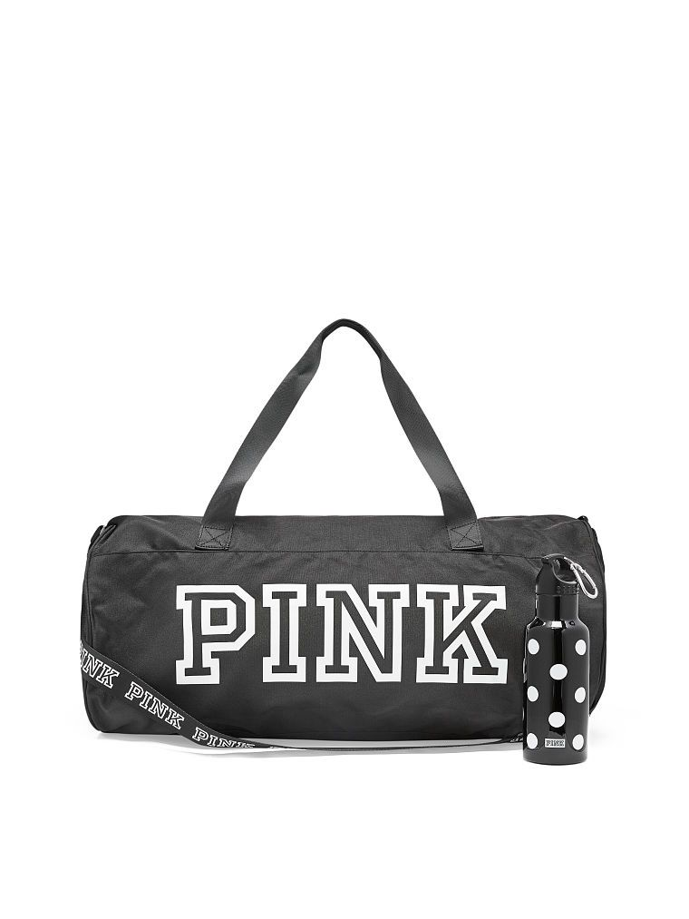 Free Duffle + Water Bottle This cute Round Duffle is essential for on or  off campus! Great for the gym or a weekend trip! Features two handle straps. 46ee852edb307