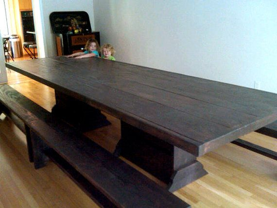 12 Foot Harvest Table Community Table By Modernrust On Etsy 1379 00 Dining Table In Kitchen Pedestal Dining Table Double Pedestal Dining Table