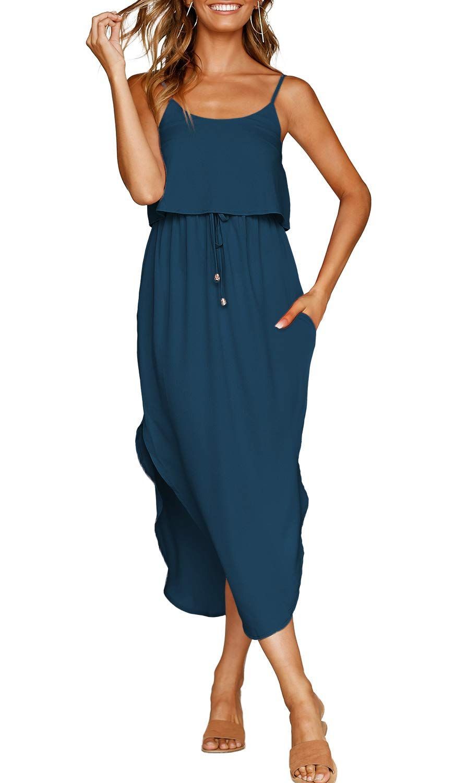 Zjct Adjustable Strappy Sundresses Blue Midi Dress Casual Modest Dresses Casual Casual Dresses For Women [ 1500 x 872 Pixel ]