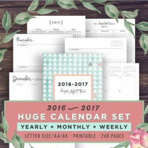 2017 Planner + Calendar, Printable Planner Inserts, 2016- Monthly Calendar, Weekly Agenda, Yearly Planner, A5, A4, Letter, Academic Agenda