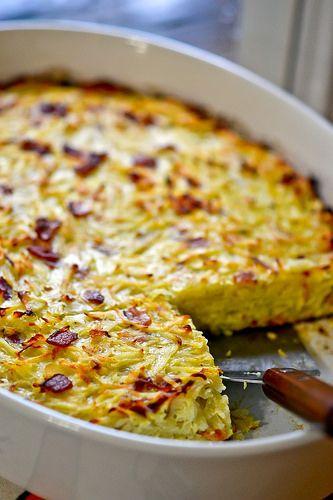Lithuanian Kugelis - Shredded Potatoes, Bacon, Onions, Eggs