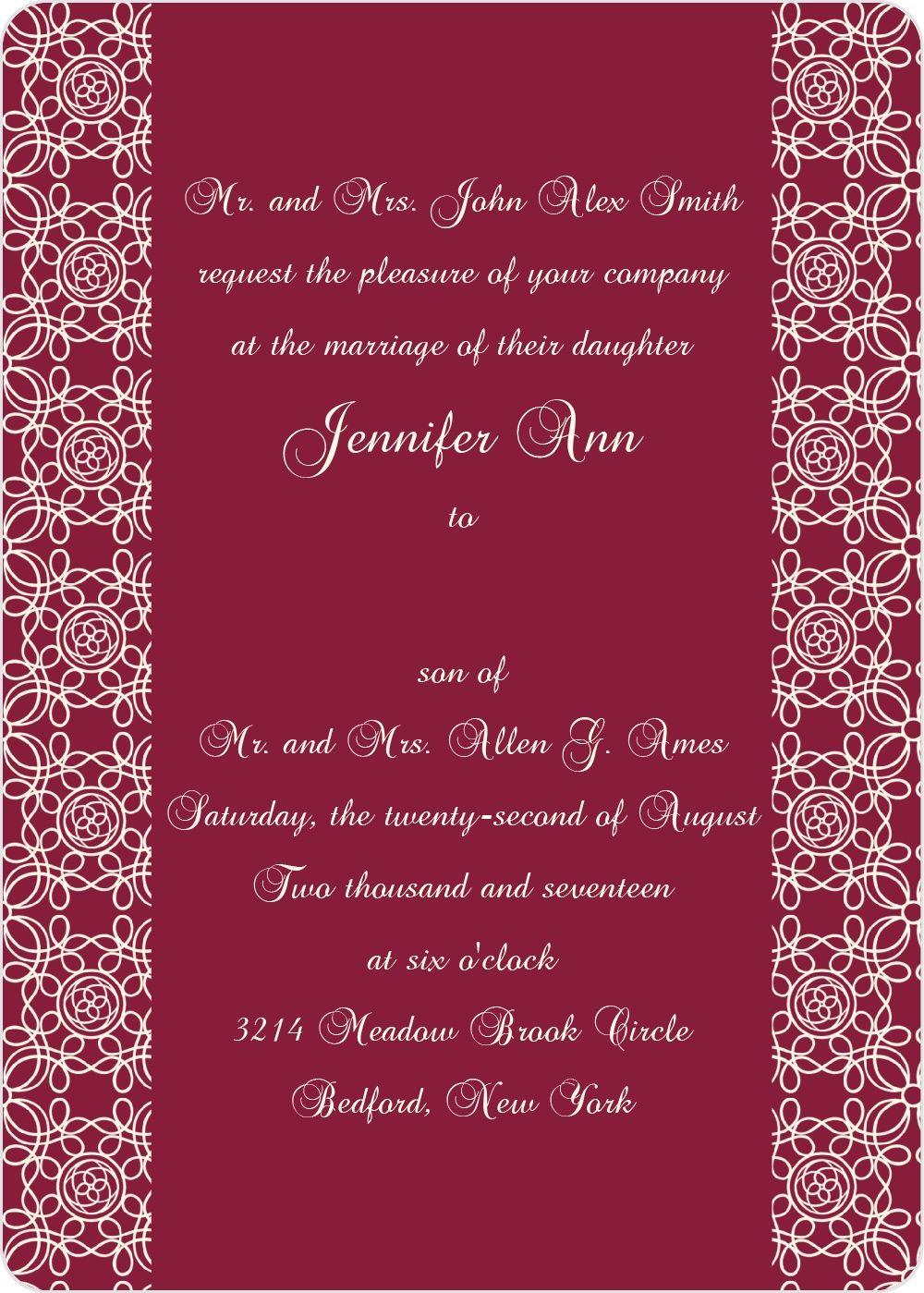 The Damask Sides Wedding Invitation | Damasks, Photo wedding ...
