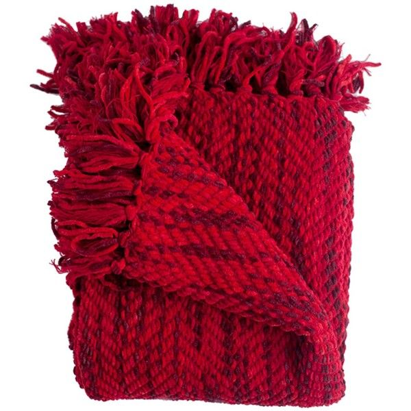 Woven Workz Bella Throw - Cherry found on Polyvore featuring home, bed & bath, bedding, blankets, cherry, fringed throws and fringe blanket