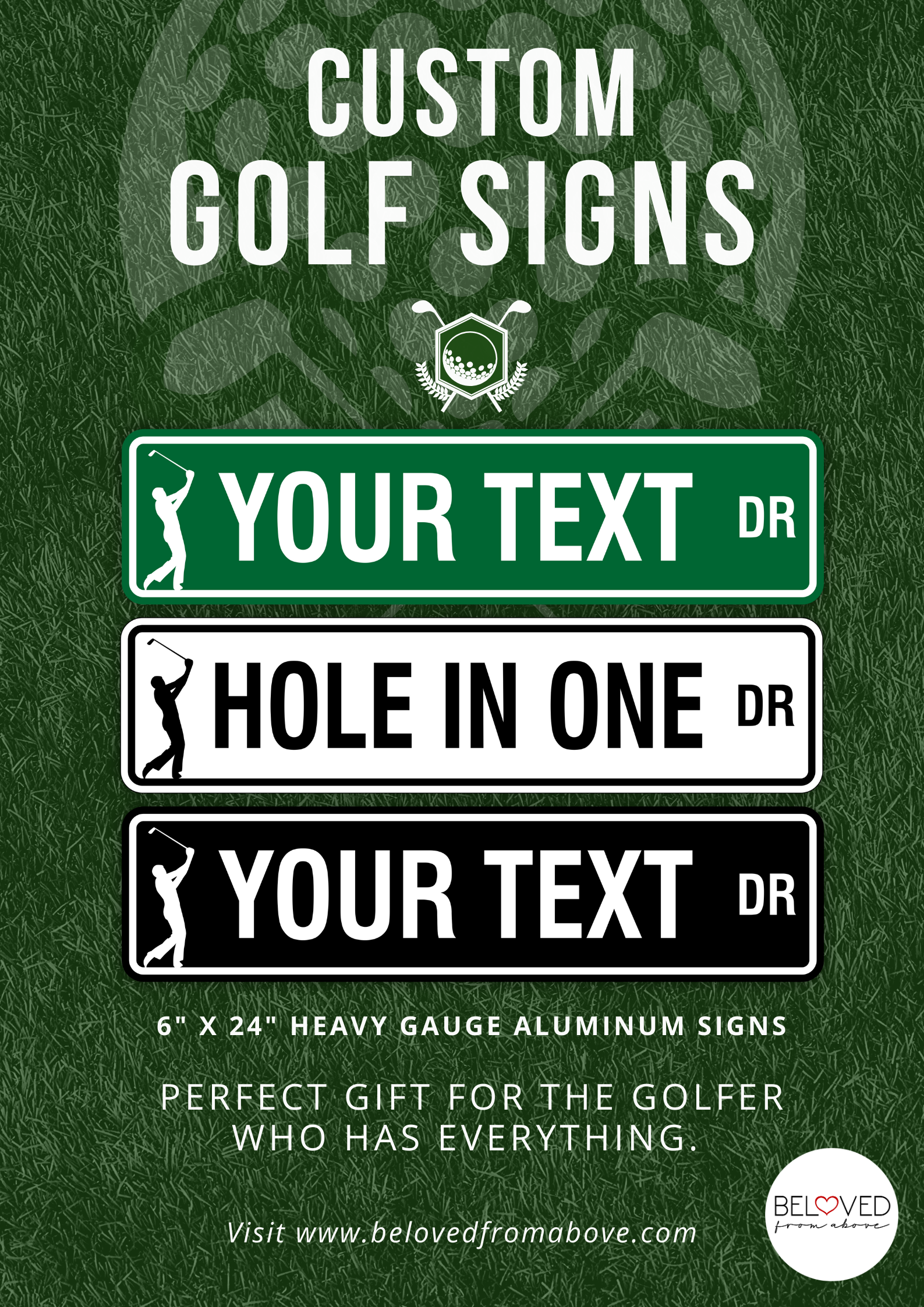 Custom Golf Aluminum Street Sign Personalized Golf Gift For Etsy Street Signs Small Letters Golf Gifts