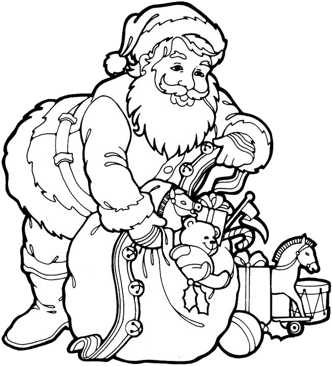 santa claus coloring pages 3 purple kitty - Santa Claus Coloring Pages