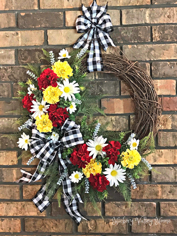 Photo of Summer Wreath, Summer Grapevine Wreath, Daisy and Geranium Wreath, Summer Swag, Front Door Wreath, Farmhouse Decor, Porch Decoration