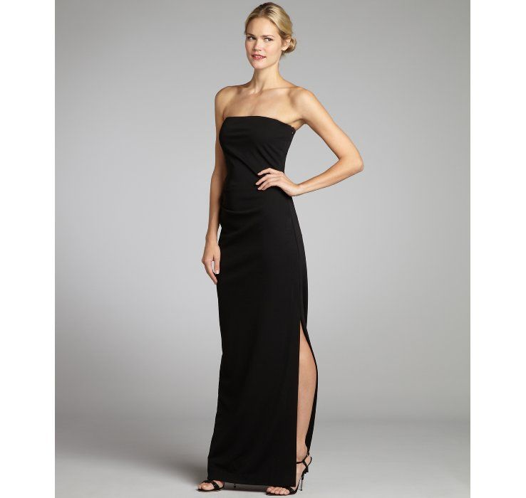 Nicole Miller black stretch jersey woven side slit strapless gown ...