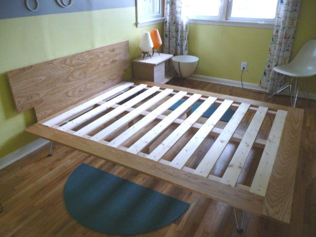 DIY platform bed - buy hairpin legs off etsy, ebay, etc ...