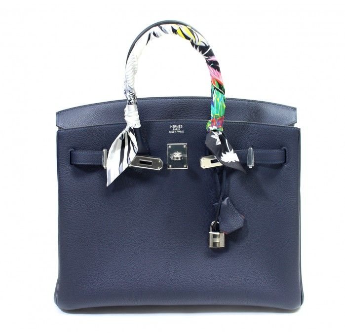 a0fb6abf23c1 Hermès Bleu Nuit and Orange Poppy Togo 35 cm Verso Birkin Bag ...