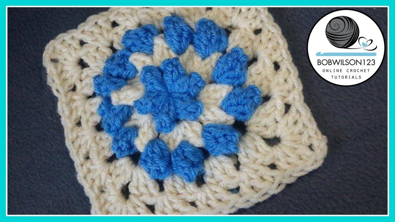 Crochet Popcorn Flower Granny Square - Whip it up Wednesday