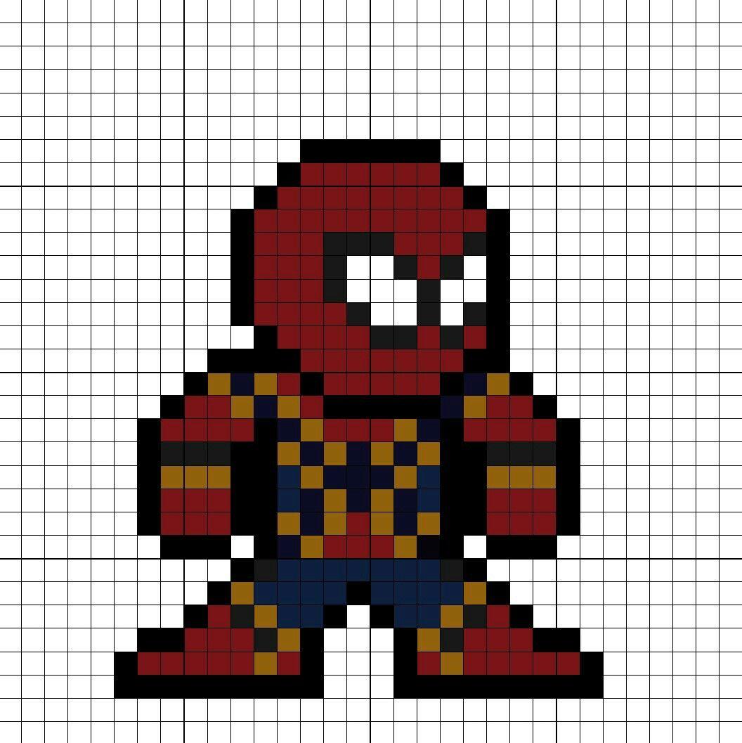 Iron spider suit spider man homecoming perler bead pattern - Hama beads cuadros ...