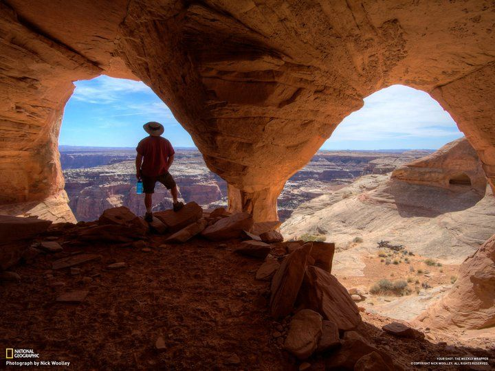 """""""Soaking in the views of Canyonlands from inside Colonnade Arch along the rim of Labyrinth Canyon."""" -- Top-Rated Photos (April 2011) at National Geographic » Photo and caption by Nick Woolley"""