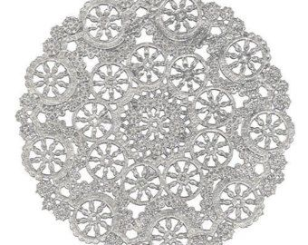 Silver Doily 100 10 Metallic Foil Medallion Lace Paper Doilies Party