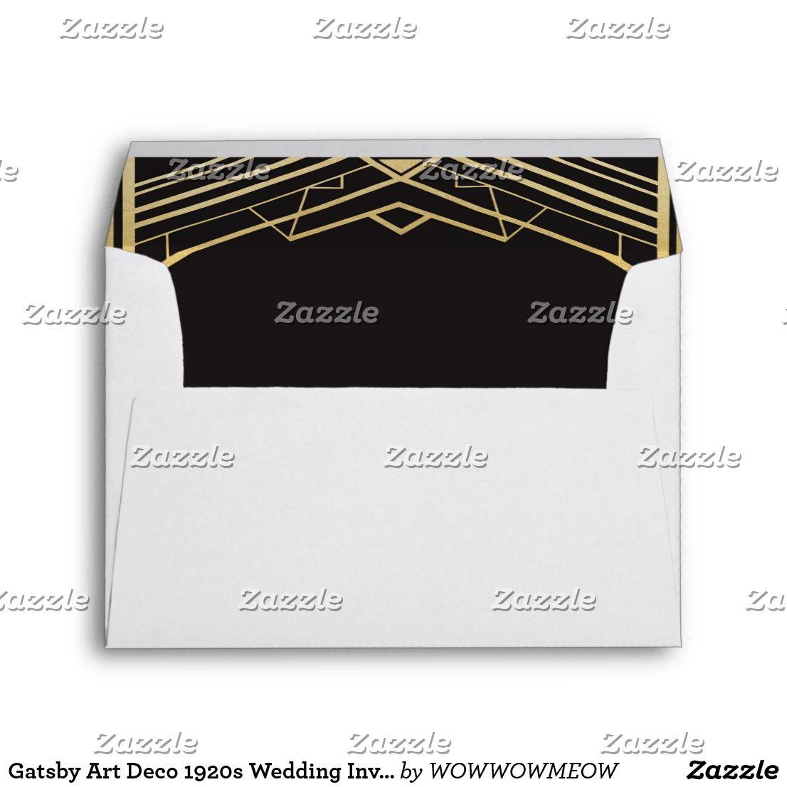 gatsby art deco 1920s wedding invitation envelopes wedding