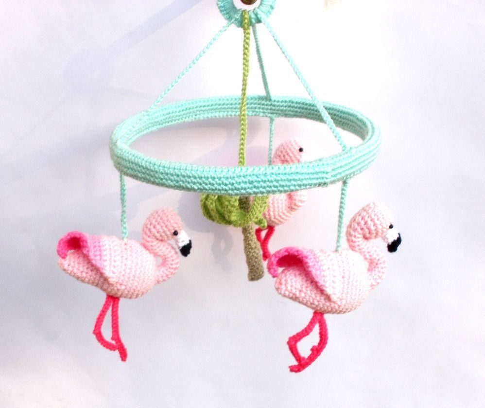 Pink Flamingo Baby Mobile Nursery With Crochet Flamingos Best Christmas Gifts 2018