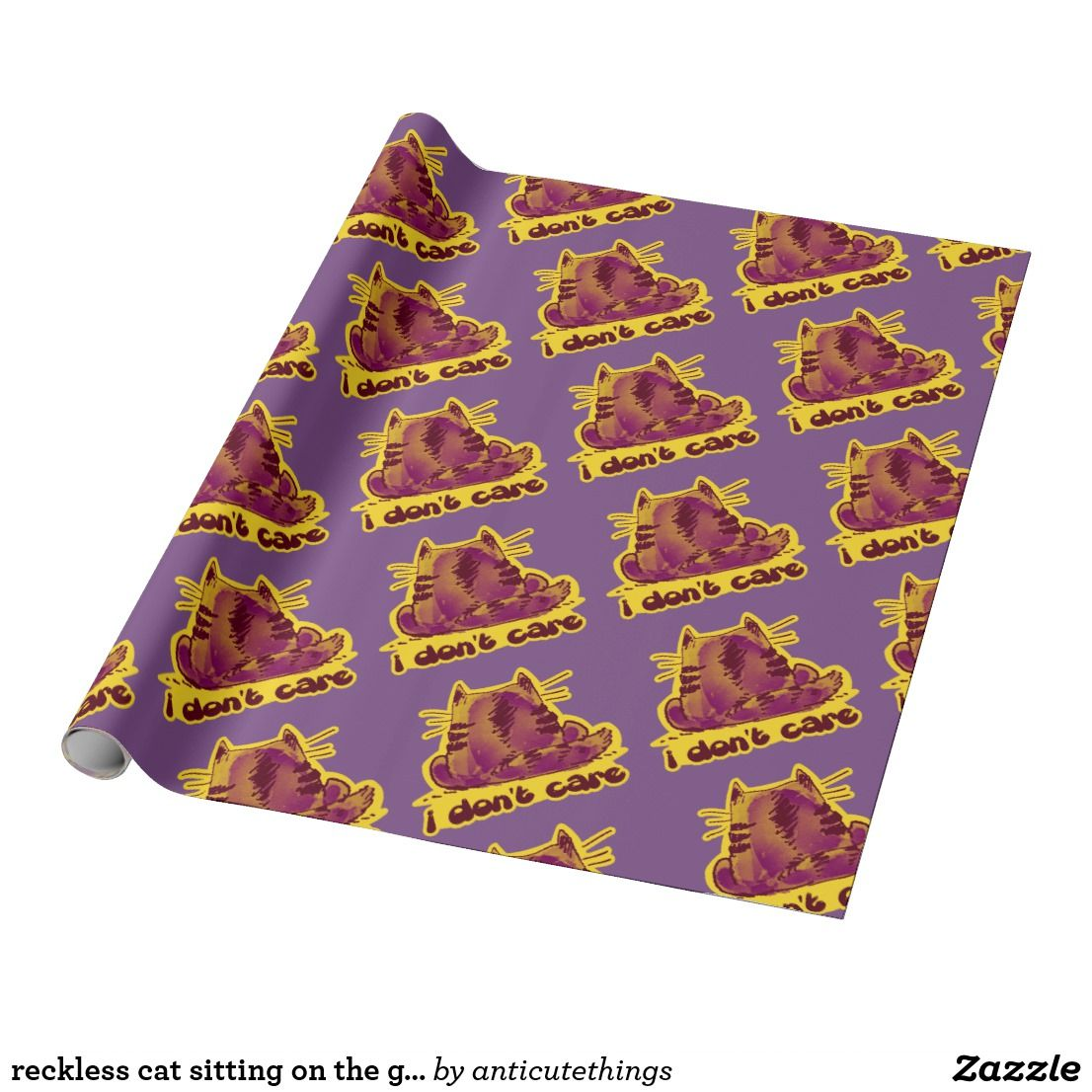 reckless cat sitting on the ground funny cartoon #idontcare #dontcare #reckless #cat #kitty #wrapping #paper #craft #cats #catlovers #catslover #cartoon #illustration #gift #ideas #giftideas #kids