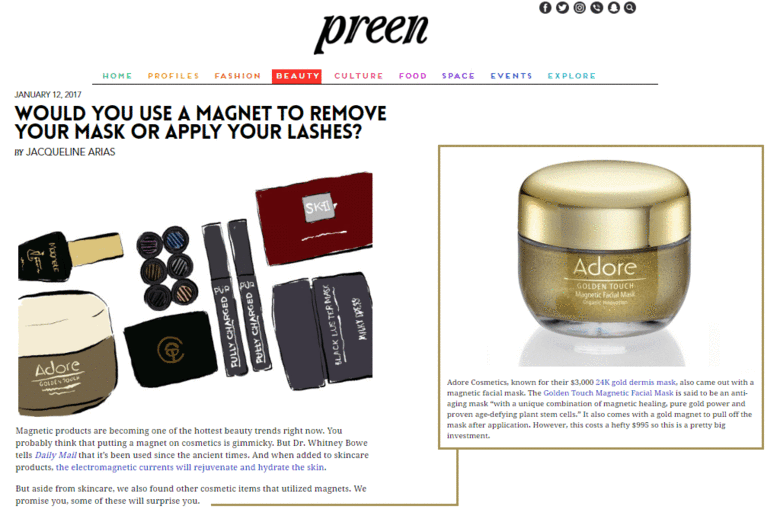 Preen Features Adore Cosmetics 24k Gold Magnetic Mask Magnetic Mask Cosmetics Cosmetics News