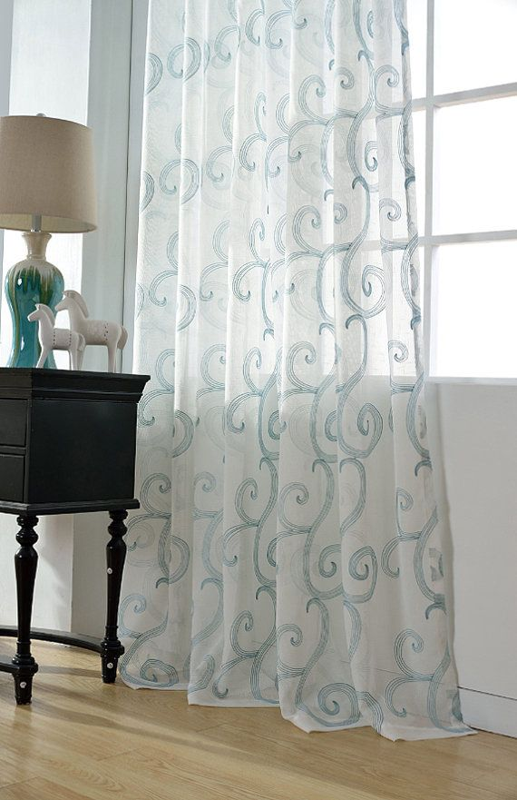 Sheer curtain voile panel with cotton embroidery pattern one sheer curtain voile panel with cotton embroidery pattern one panel choose width and length ccuart Gallery