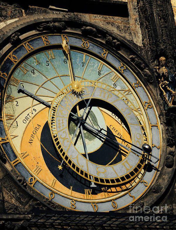 Astronomical Clock Tattoo: Astronomical Clock In Prague Art Print By Jelena Jovanovic