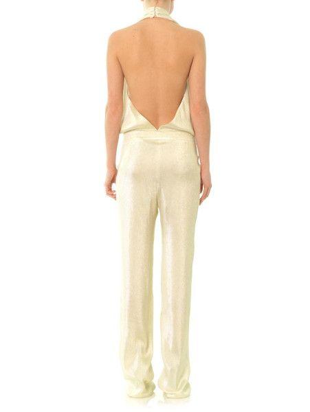 a17151460d9 Gucci Liquid Lamé Jumpsuit in White (Metallic) - Lyst