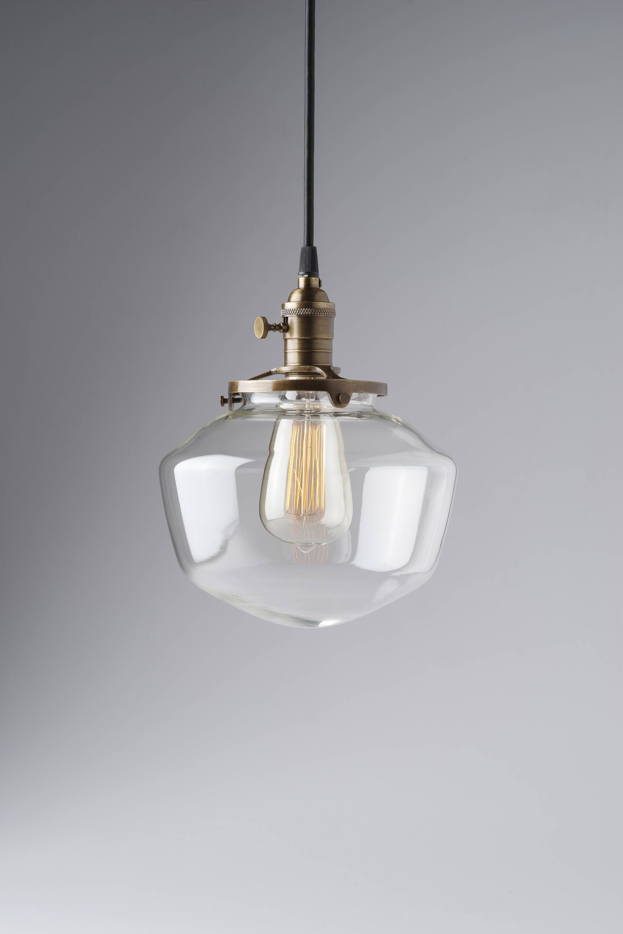 8 Clear Gl Shade Schoolhouse Style Light Pendant Fixture
