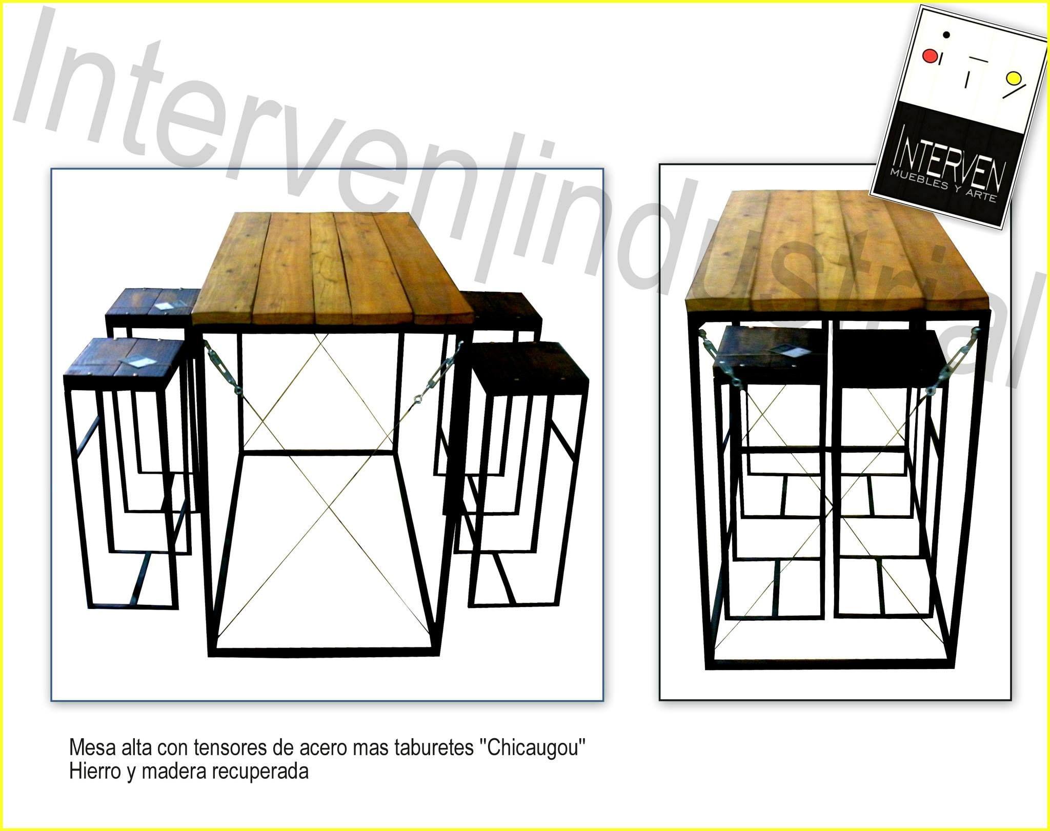 Mesa alta con taburetes muebles interven industrial - Mesa cocina con taburetes ...