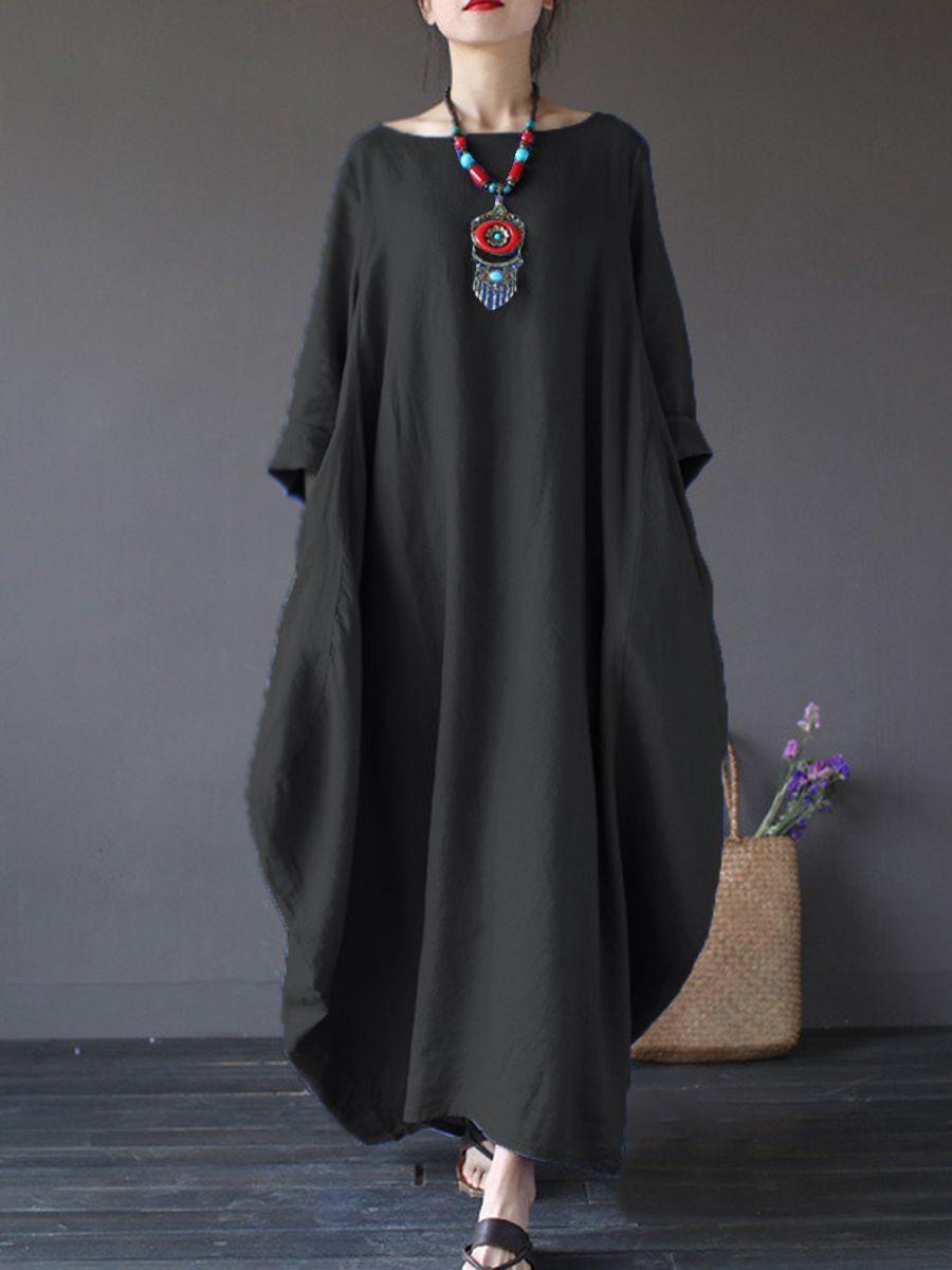 5b94f7b489f Oversized Round Neck No Pocket Plain Maxi Dress in 2019