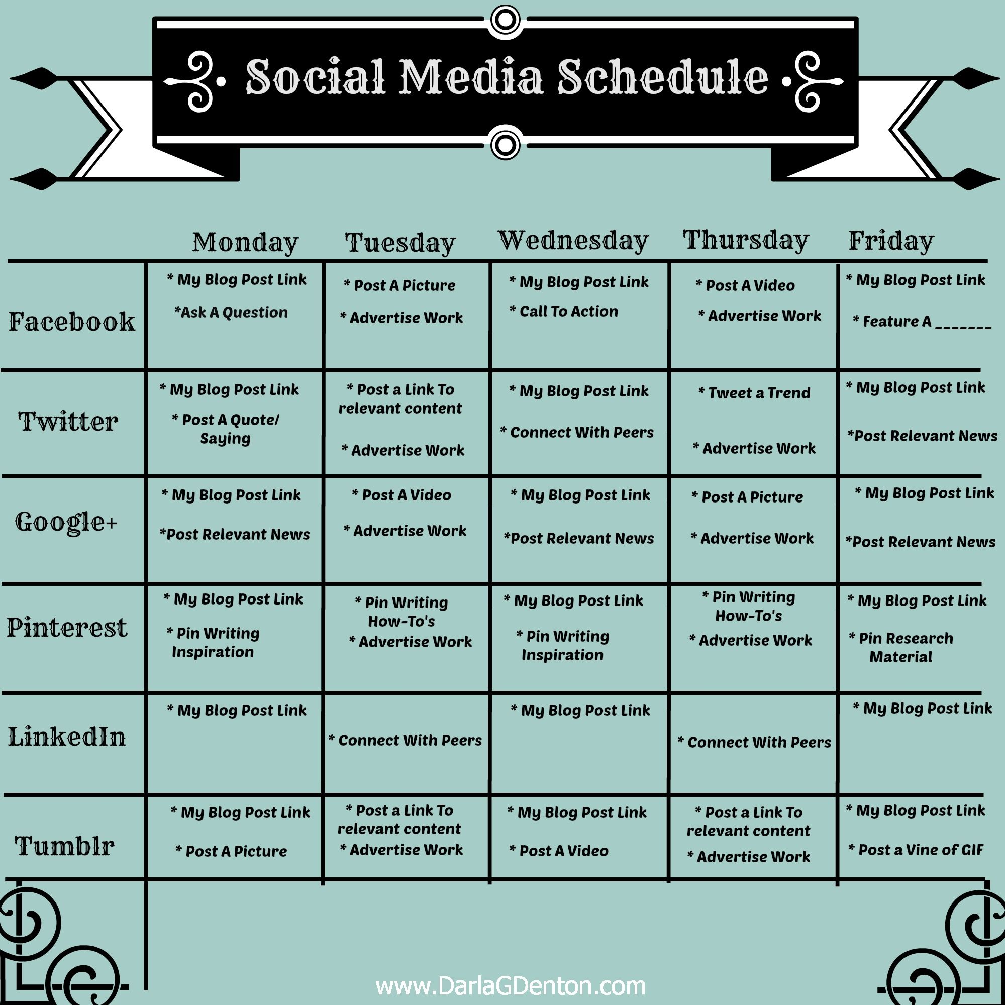 Social Media Calendar Template Socialmediapostingschedulejpg - Social media post template