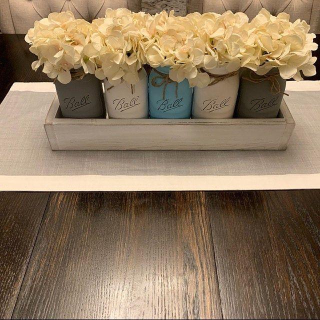 Planter Box with Mason Jars, Mason Jar Centerpieces, Mason Jar Decor, Rustic Home Decor, Home Decor, Table Centerpiece, Centerpiece,Wood Box #masonjarbathroom