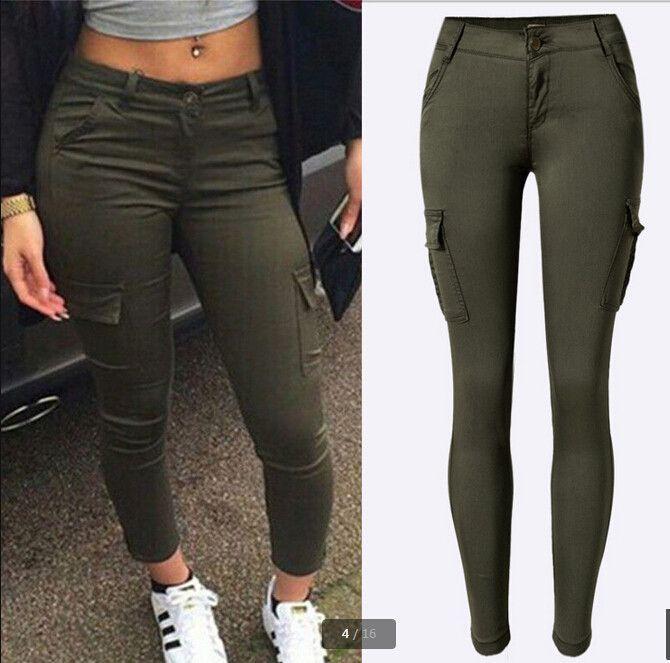Womens Khaki Slim Skinny Stretch Cargo Pants Mid Rise Combat Trousers Short Leg