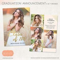 Senior Graduation Announcement Template for Photographers PSD Flat card  Gold  Blush CG027  Senior Graduation Announcement Template for Photographers PSD Flat card  Gold...