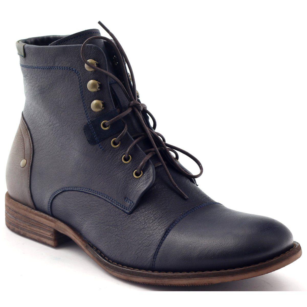 Botki Meskie Zimowe Pilpol C831 Granatowe Brazowe Combat Boots Boots Dr Martens Boots